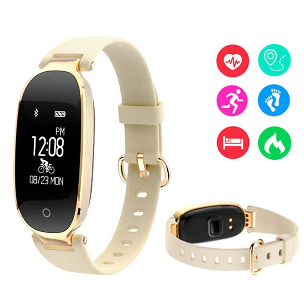 Multifunction Waterproof Fitness Tracker Smart Bracelet Watch Heart Rate Monitor Wristband  Golden
