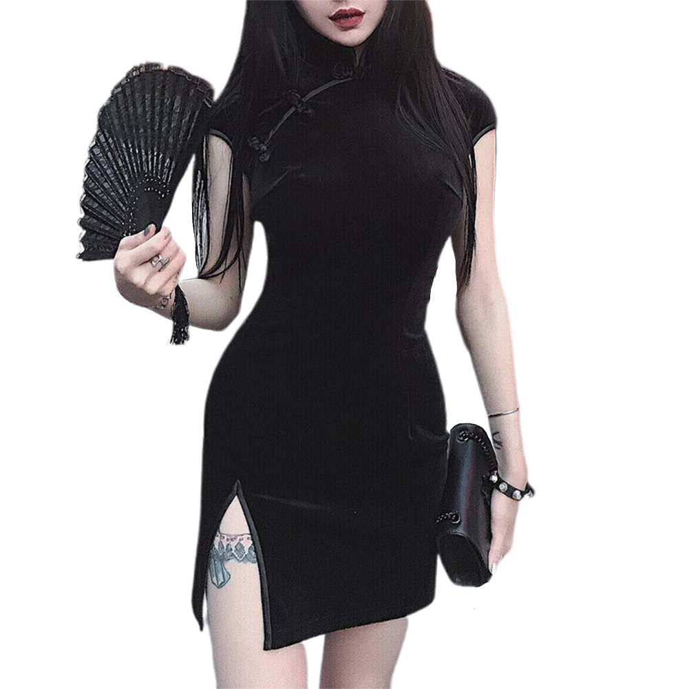 Women Halloween Cheongsam Retro Dress Dress Dark Sexy Dress black_S