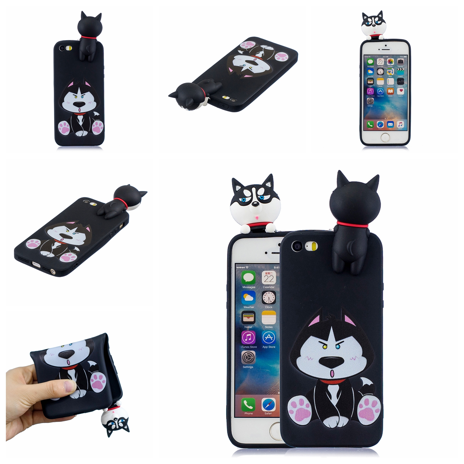 For iPhone 5/5S/SE 3D Cartoon Lovely Coloured Painted Soft TPU Back Cover Non-slip Shockproof Full Protective Case cute husky