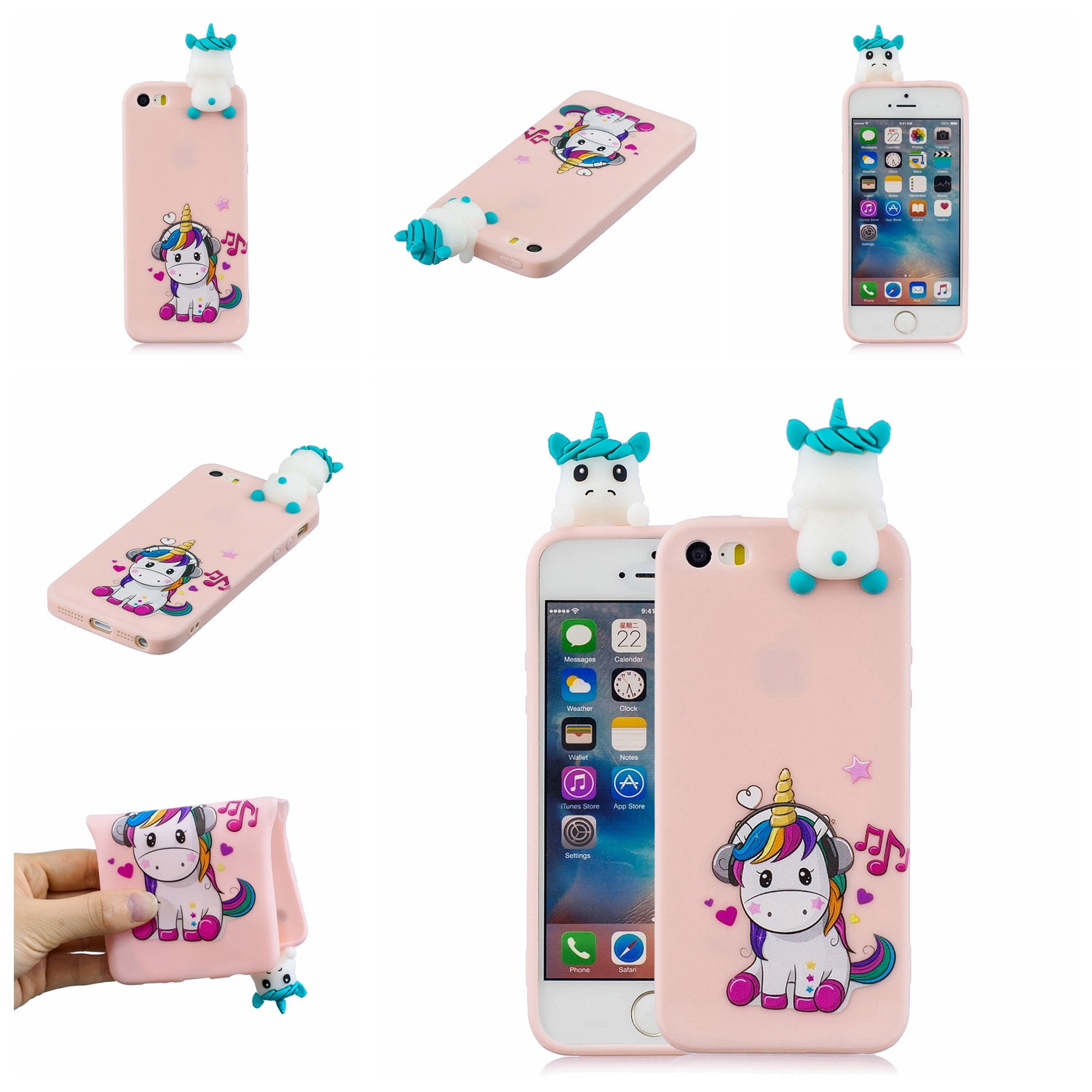For iPhone 5/5S/SE 3D Cartoon Lovely Coloured Painted Soft TPU Back Cover Non-slip Shockproof Full Protective Case Music unicorn
