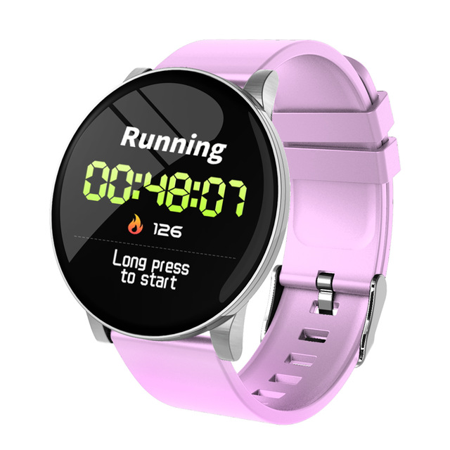 Smart Watch Women Men Watches Waterproof Fitness Tracker Bracelet Sports Heart Rate Monitor Smartwatch W8 Wristband  Pink