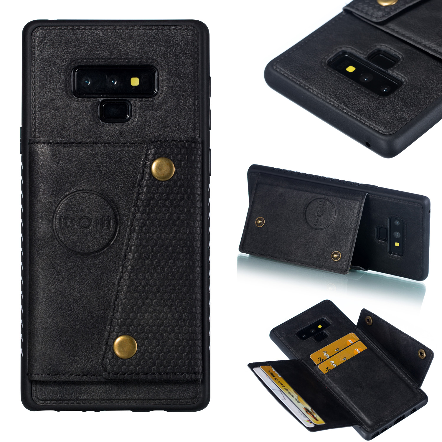 For Samsung NOTE 9 Phone Case Protective Back Cover with Card Holder Bracket black_Samsung NOTE 9