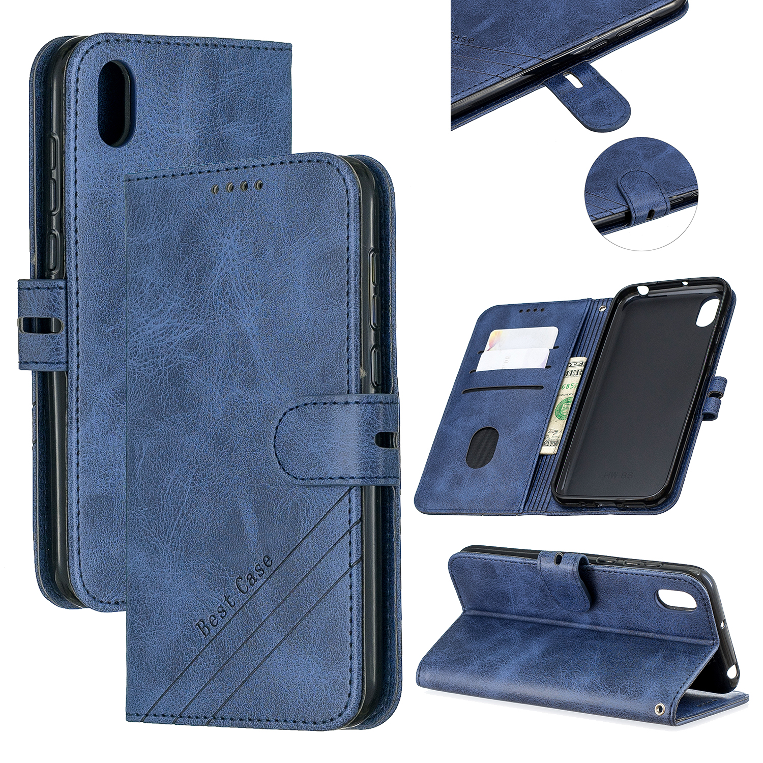 For HUAWEI Y5 2019 Denim Pattern Solid Color Flip Wallet PU Leather Protective Phone Case with Buckle & Bracket blue