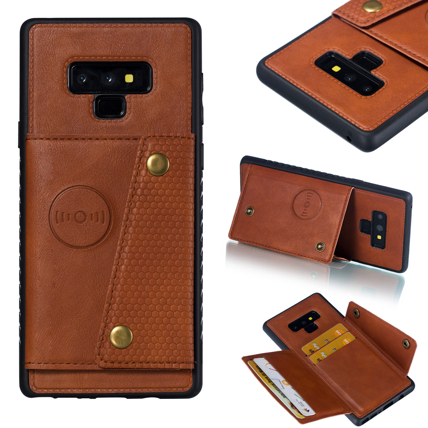 For Samsung NOTE 9 Phone Case Protective Back Cover with Card Holder Bracket Light Brown_Samsung NOTE 9