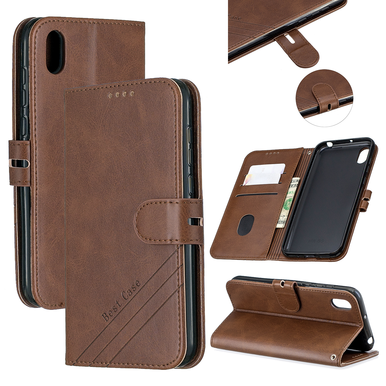 For HUAWEI Y5 2019 Denim Pattern Solid Color Flip Wallet PU Leather Protective Phone Case with Buckle & Bracket brown