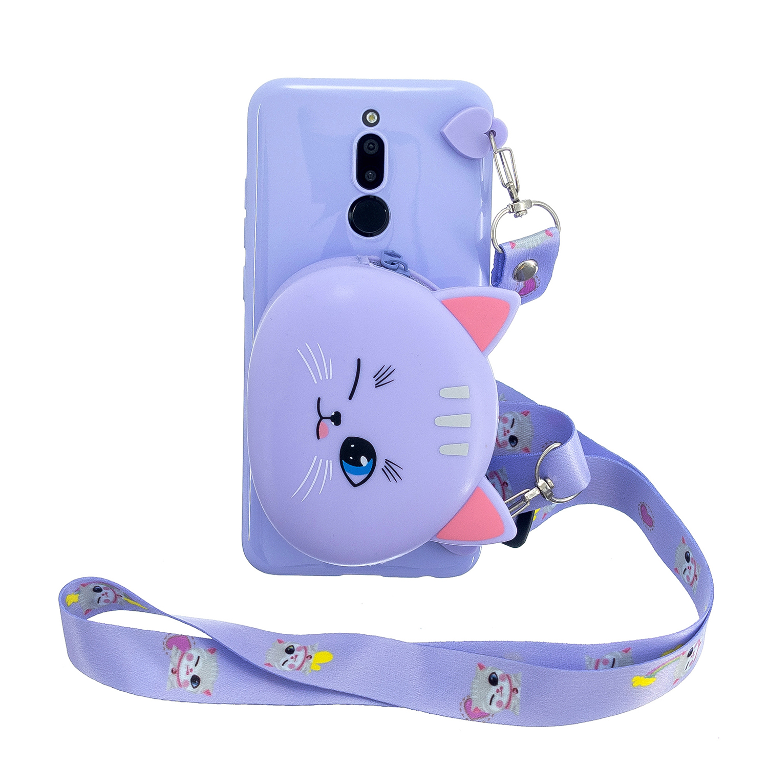 For Redmi 8/Redmi 8A Case Mobile Phone Shell Shockproof Cellphone TPU Cover with Cartoon Cat Pig Panda Coin Purse Lovely Shoulder Starp  Purple