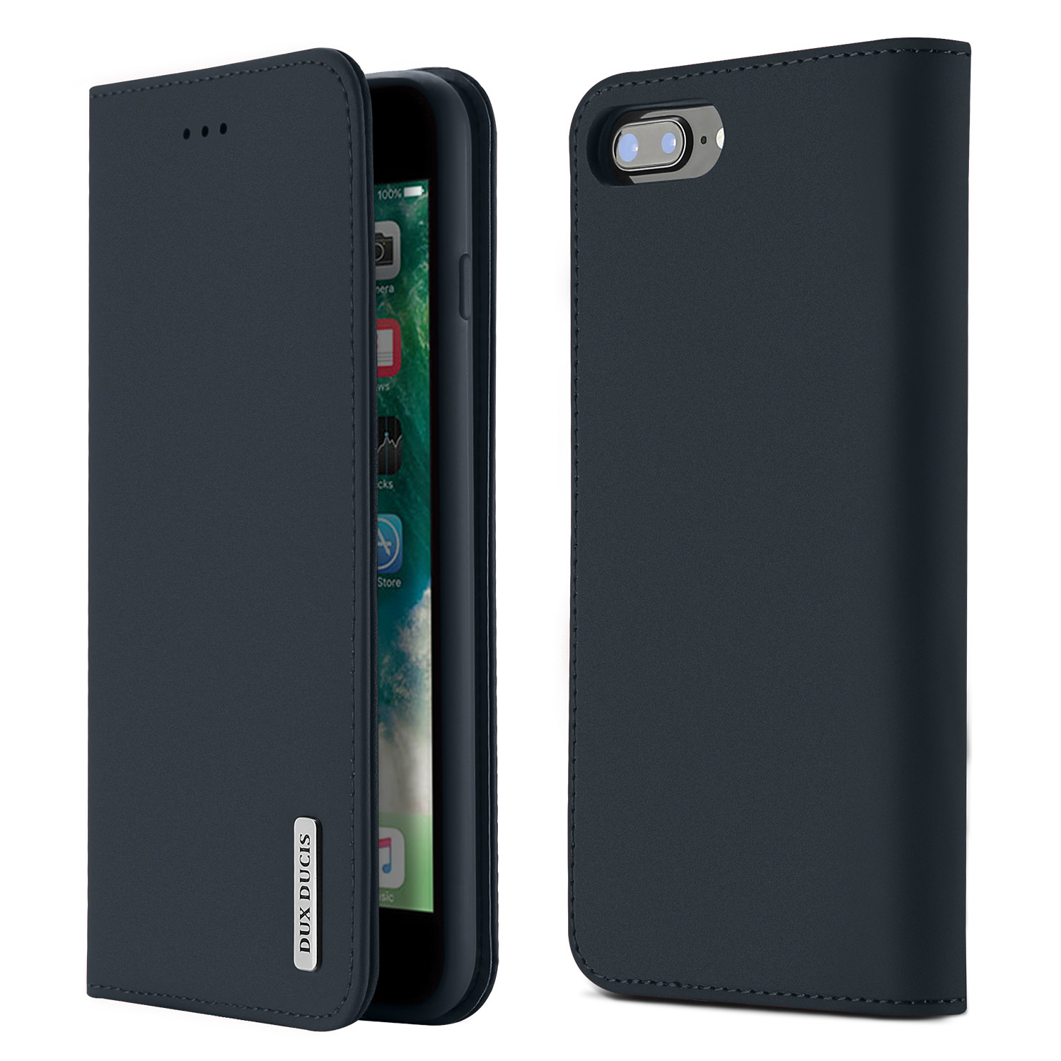DUX DUCIS For iPhone 7 Plus/8Plus Luxury Genuine Leather Magnetic Flip Cover Full Protective Case with Bracket Card Slot blue