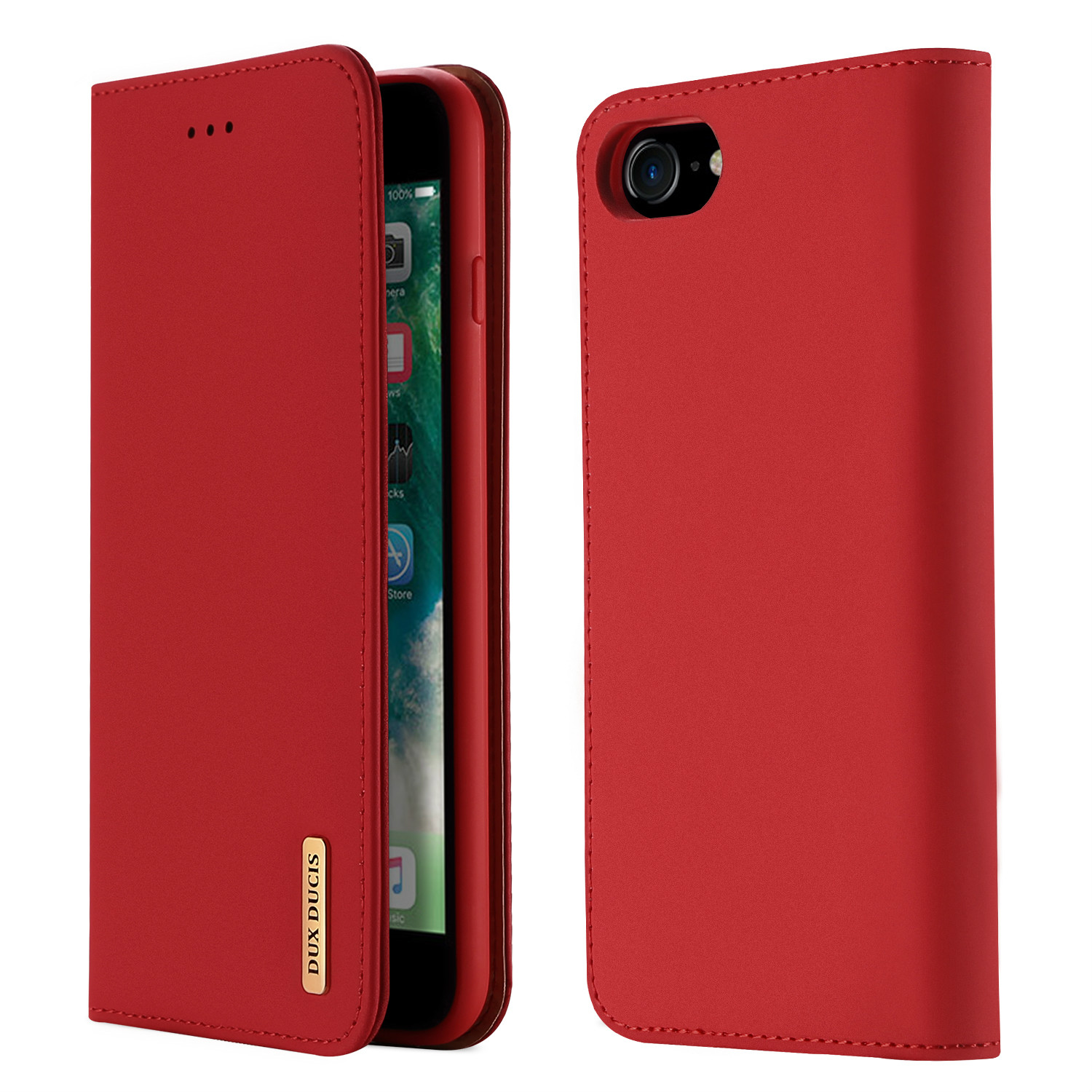 DUX DUCIS For iPhone 7/8 Luxury Genuine Leather Magnetic Flip Cover Full Protective Case with Bracket Card Slot red