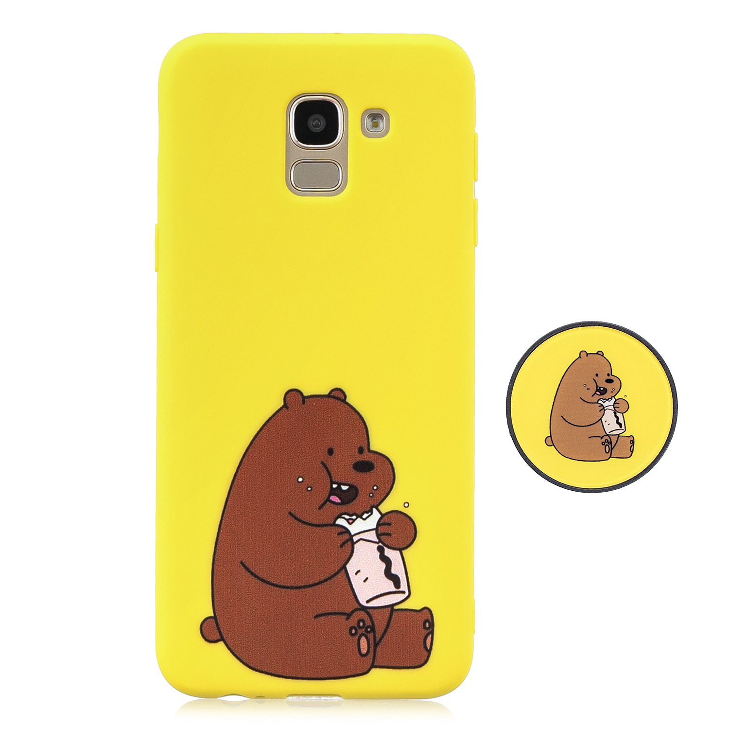 For Samsung J6 2018 Non-Slip TPU Bumper Case Shockproof Full-Body Protective Case Cover with Adjustable Bracket 8