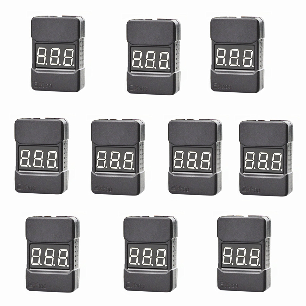10pcs/lot Hotrc BX100 1-8S Indicator RC Li-ion Lipo Battery Tester Low Voltage Buzzer Alarm RC Tools black