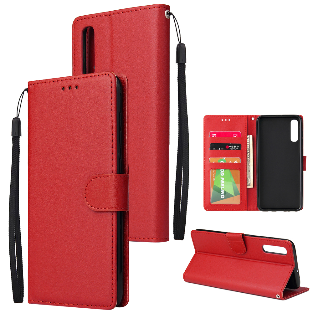 For Samsung A70 Wallet-type PU Leather Protective Phone Case with Buckle & 3 Card Position red