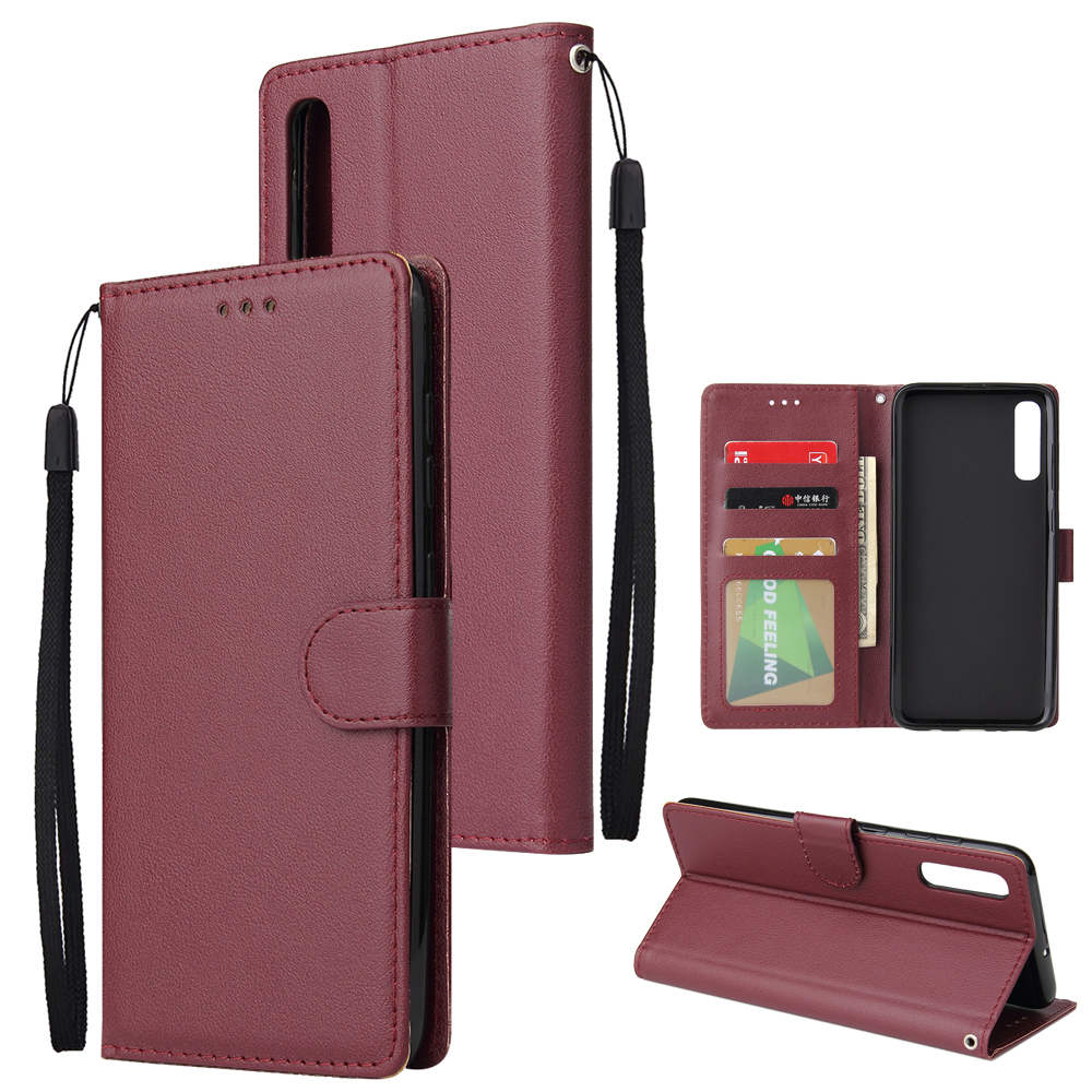 For Samsung A70 Wallet-type PU Leather Protective Phone Case with Buckle & 3 Card Position Red wine