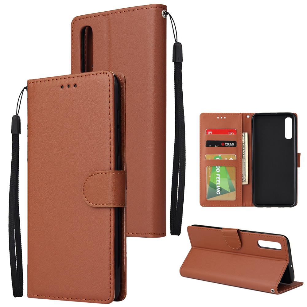 For Samsung A70 Wallet-type PU Leather Protective Phone Case with Buckle & 3 Card Position brown