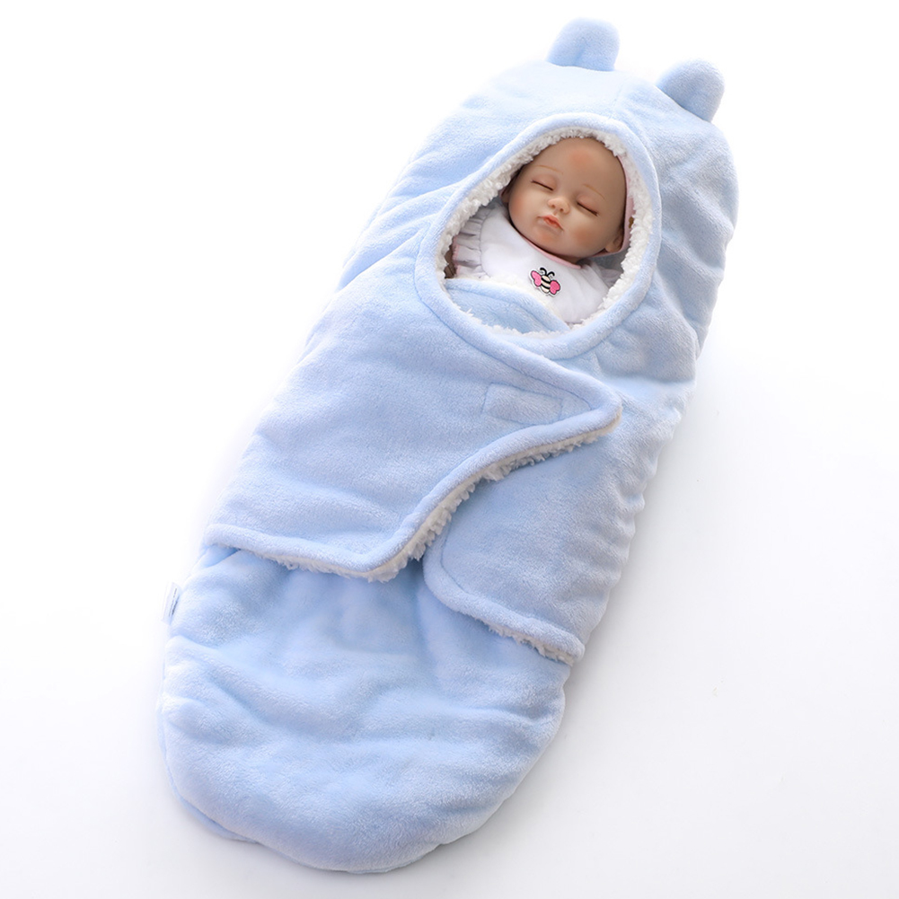 Winter Baby Blankets Thicken Fleece Infant Swaddle Wrap Bedding Blanket blue_40X78cm