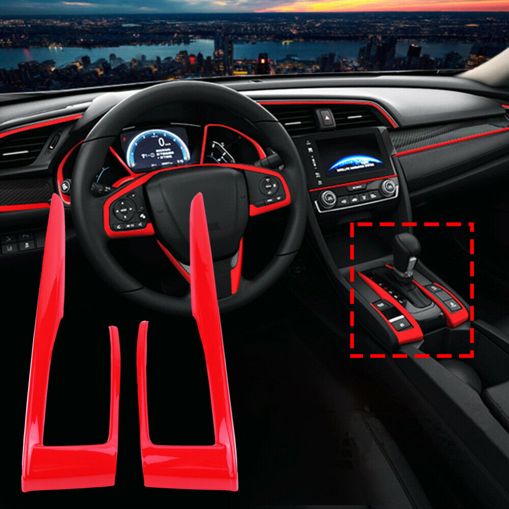 2pcs/set Carbon Fiber Gear Shift Frame Cover Trim For Honda Civic 10th 2016 2017 2018 Stoving varnish red