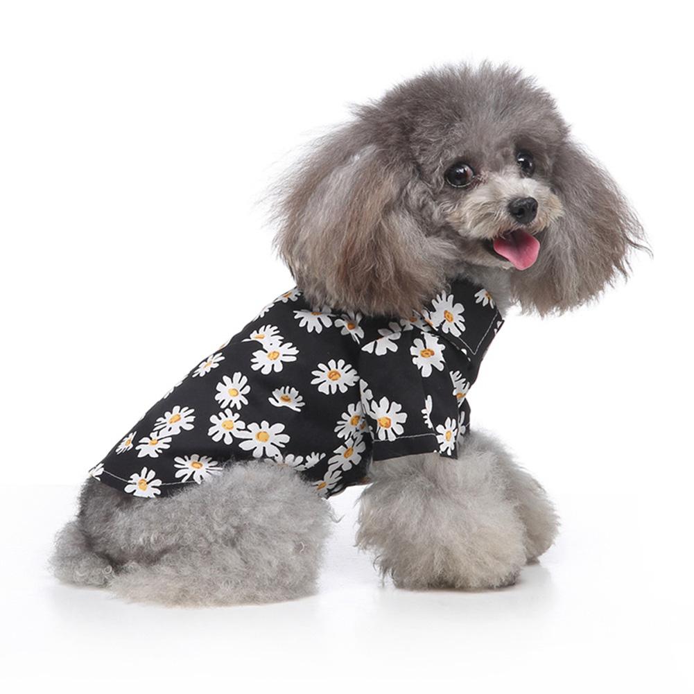 Summer Flower Print Beach Shirt Dog Cat Casual Pet Travel Blouse  black_M