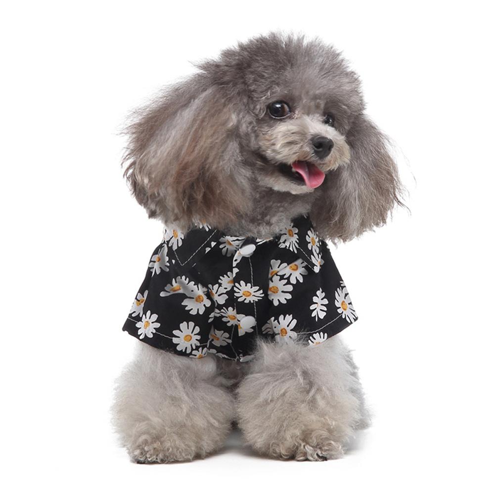 Summer Flower Print Beach Shirt Dog Cat Casual Pet Travel Blouse black_S