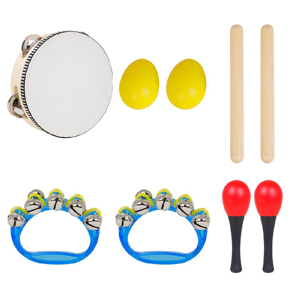 5 Pcs/set  Sy-71  Musical Instruments Set   6-Inch  Black  Lamb  Chop  Tambourine  +  1  Pair  Of  Yellow  Sand  Eggs  5-piece set