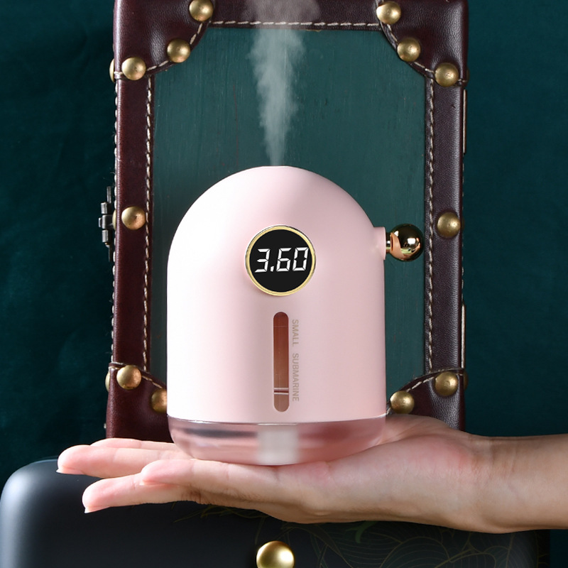 Retro Air Humidifier Mini USB Rechargeable Night Light for Home Office Pink
