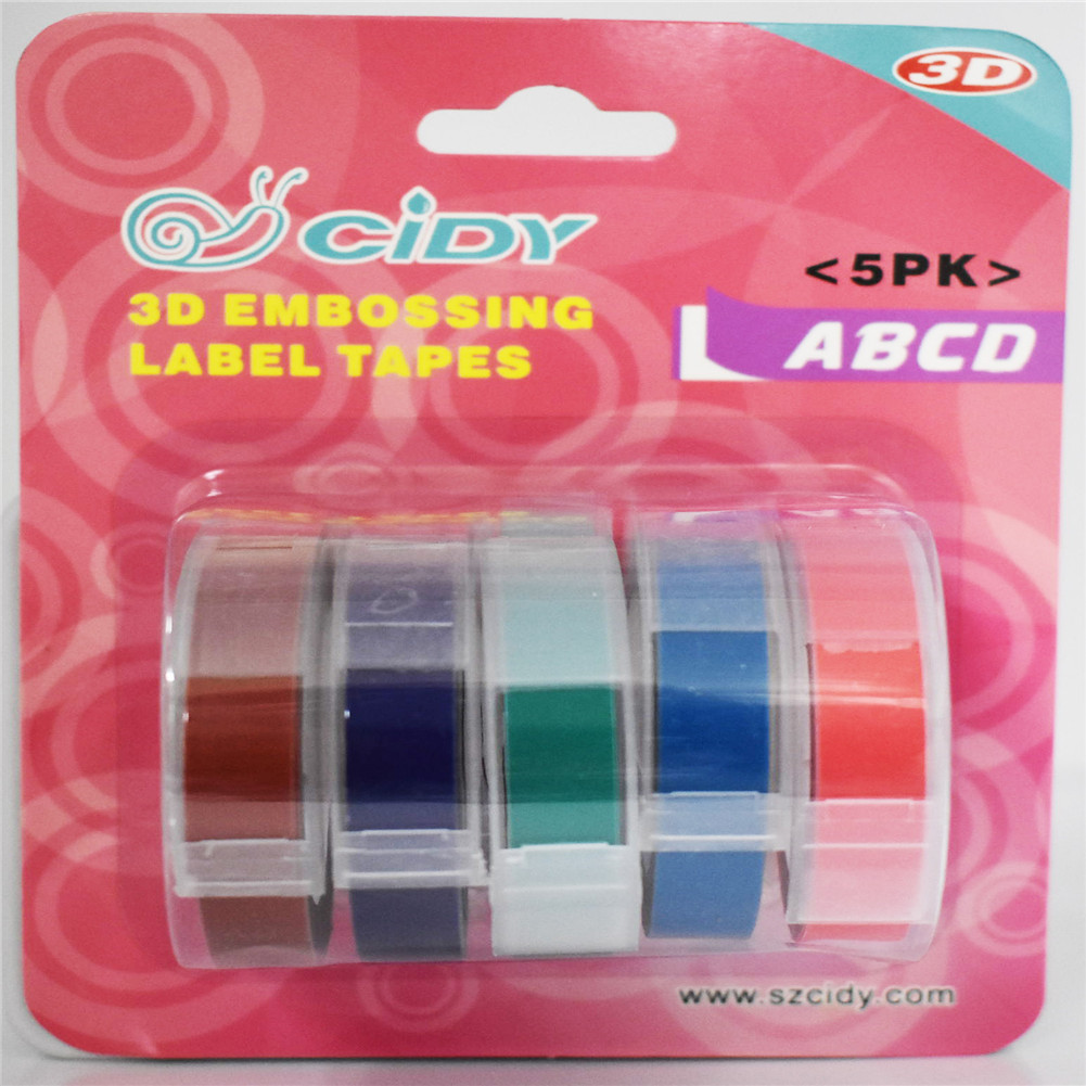 5Pcs/Set Adhesive  Tape  Set 3d Plastic 9mm Embossing Label Maker Waterproof Strong Adhensiveness 9mm (c combination)