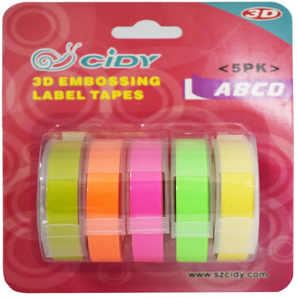 5Pcs/Set Adhesive  Tape  Set 3d Plastic 9mm Embossing Label Maker Waterproof Strong Adhensiveness 9mm (b combination)