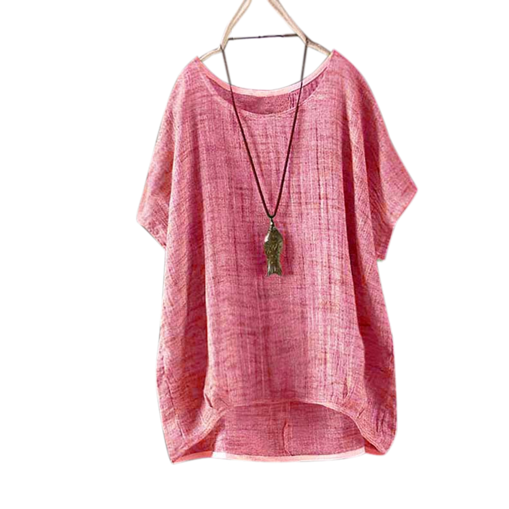 Women Round Collar Casual Flax Tops - Red M