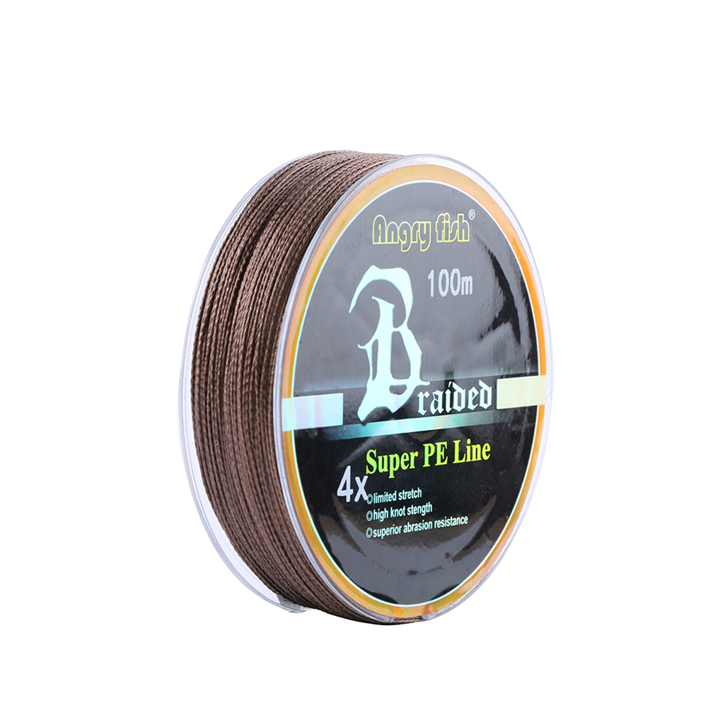 ANGRYFISH Diominate PE Line 4 Strands Braided 100m/109yds Super Strong Fishing Line 10LB-80LB Brown 6.0#: 0.40mm/60LB