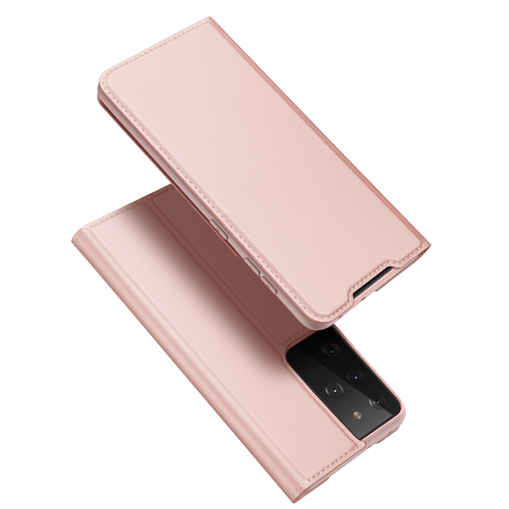For Samsung Galaxy S21-s30ultra Shockproof Pu Non-slip Anti Scratch Protective Phone  Case Cover Rose gold