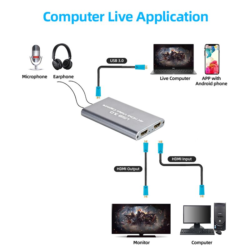 HD Acquisition Card USB 3.0 Mobile Game Live Video Conference HDMIRecorder for PS4 or Nintendo Switch gray
