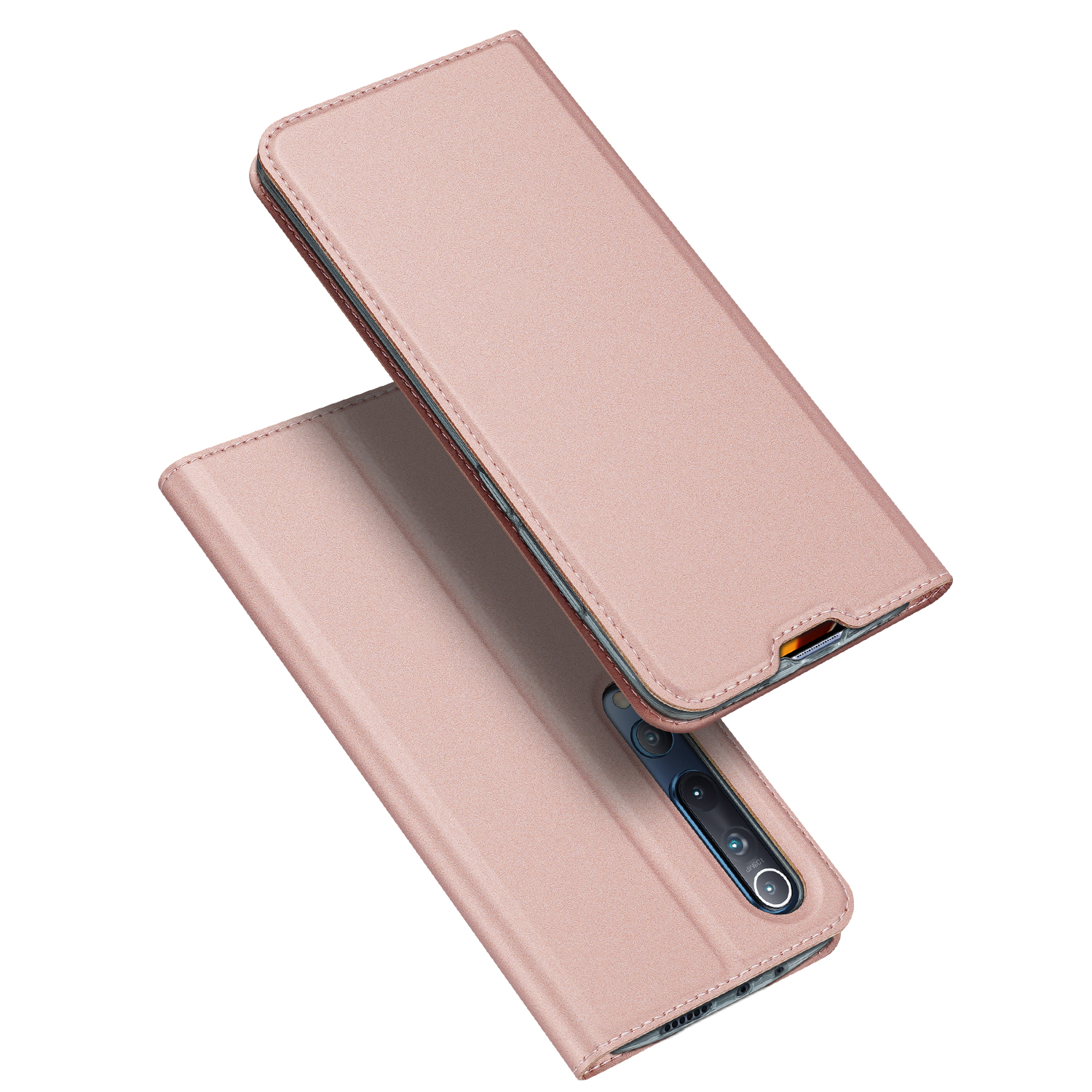 DUX DUCIS For XIAOMI 10/MI 10 Pro Fall Resistant Mobile Phone Cover Magnetic Leather Protective Case with Cards Slot Bracket Rose gold