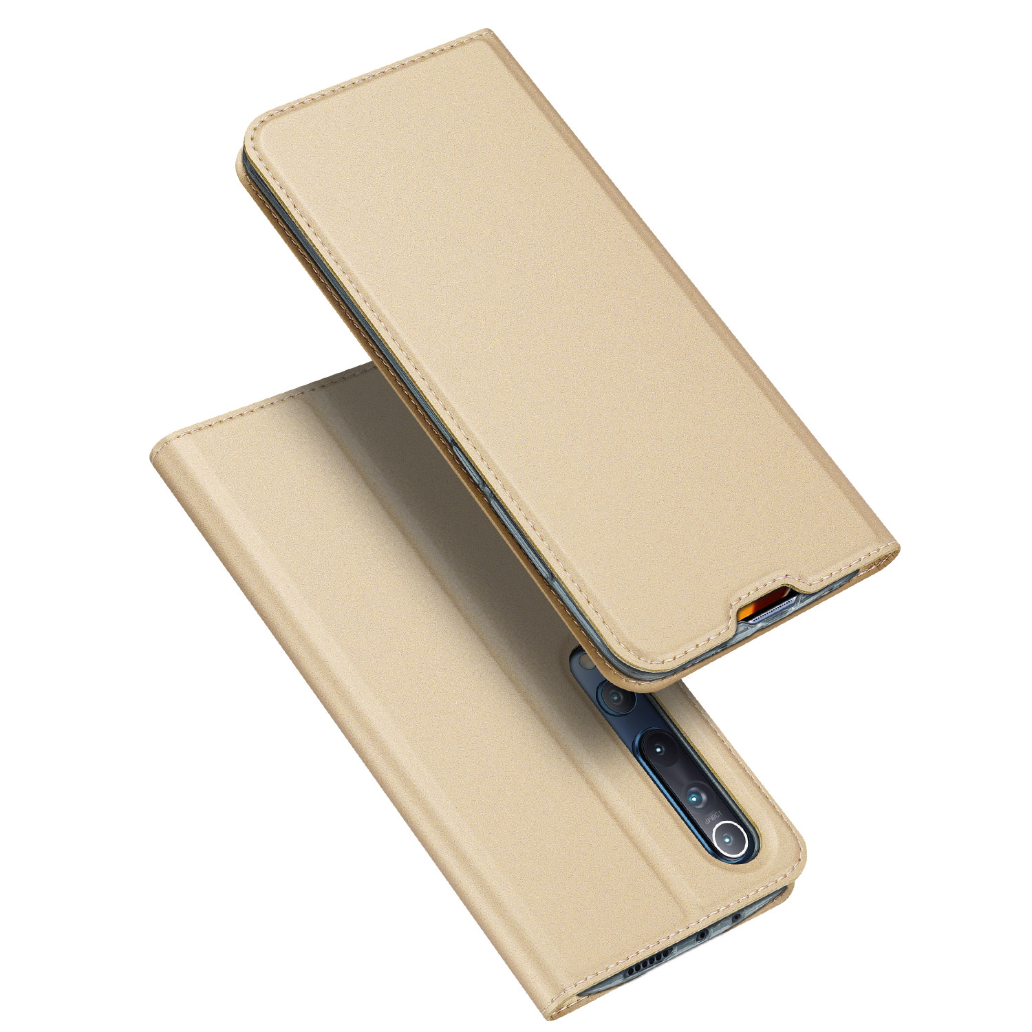 DUX DUCIS For XIAOMI 10/MI 10 Pro Fall Resistant Mobile Phone Cover Magnetic Leather Protective Case with Cards Slot Bracket Tyrant Gold