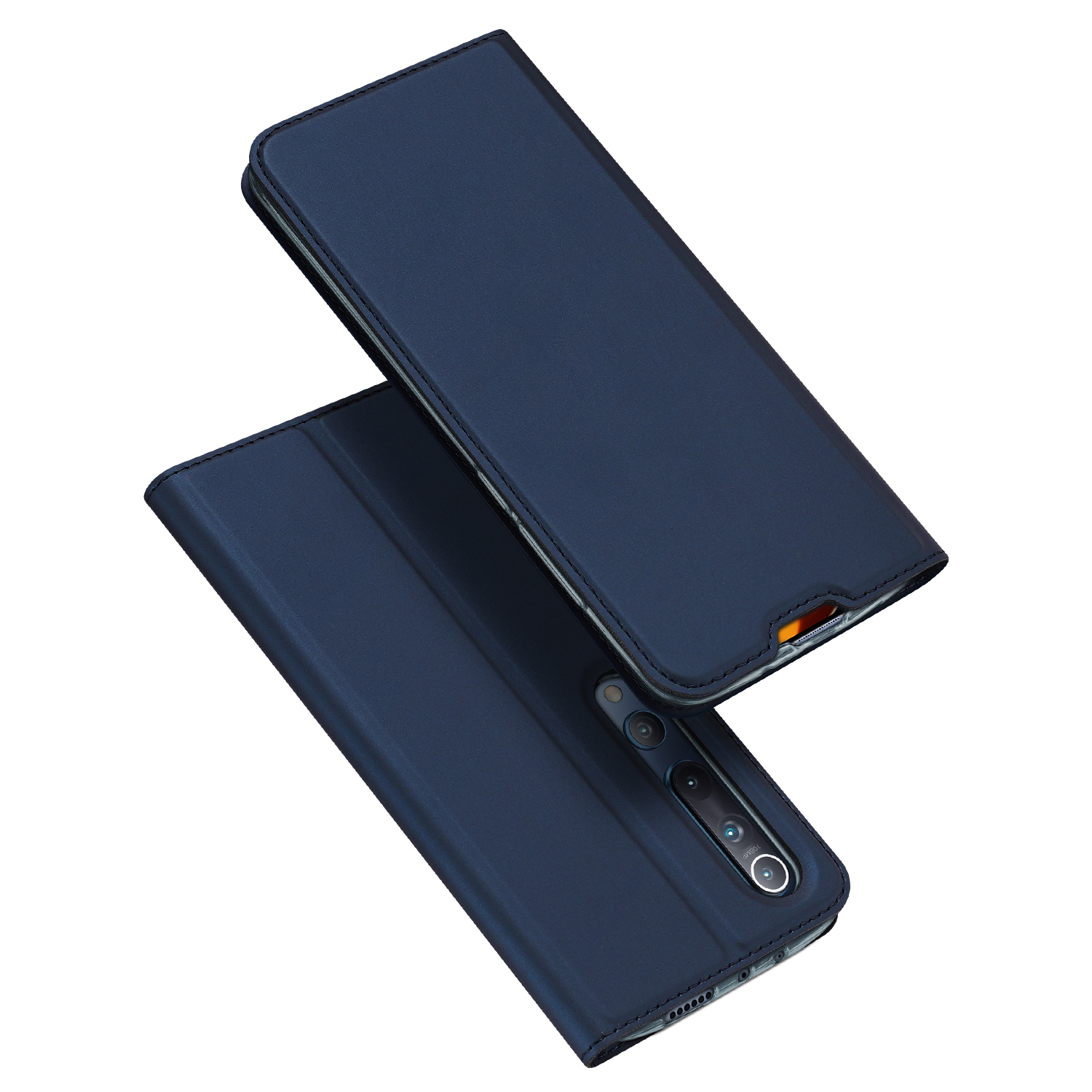 DUX DUCIS For XIAOMI 10/MI 10 Pro Fall Resistant Mobile Phone Cover Magnetic Leather Protective Case with Cards Slot Bracket Royal blue