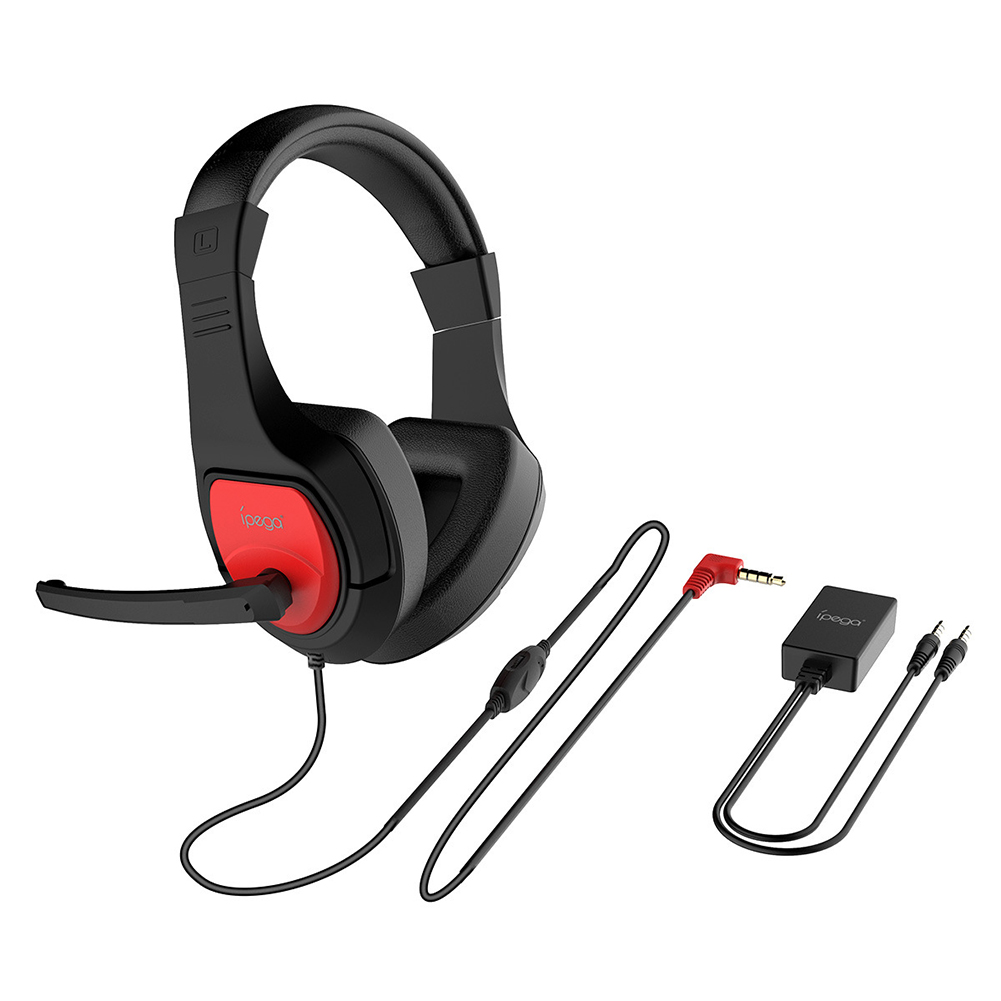 Game Headphone PG-R001 for P4 PC Switch Mobile Phone Headset with Audio Adapter Red black