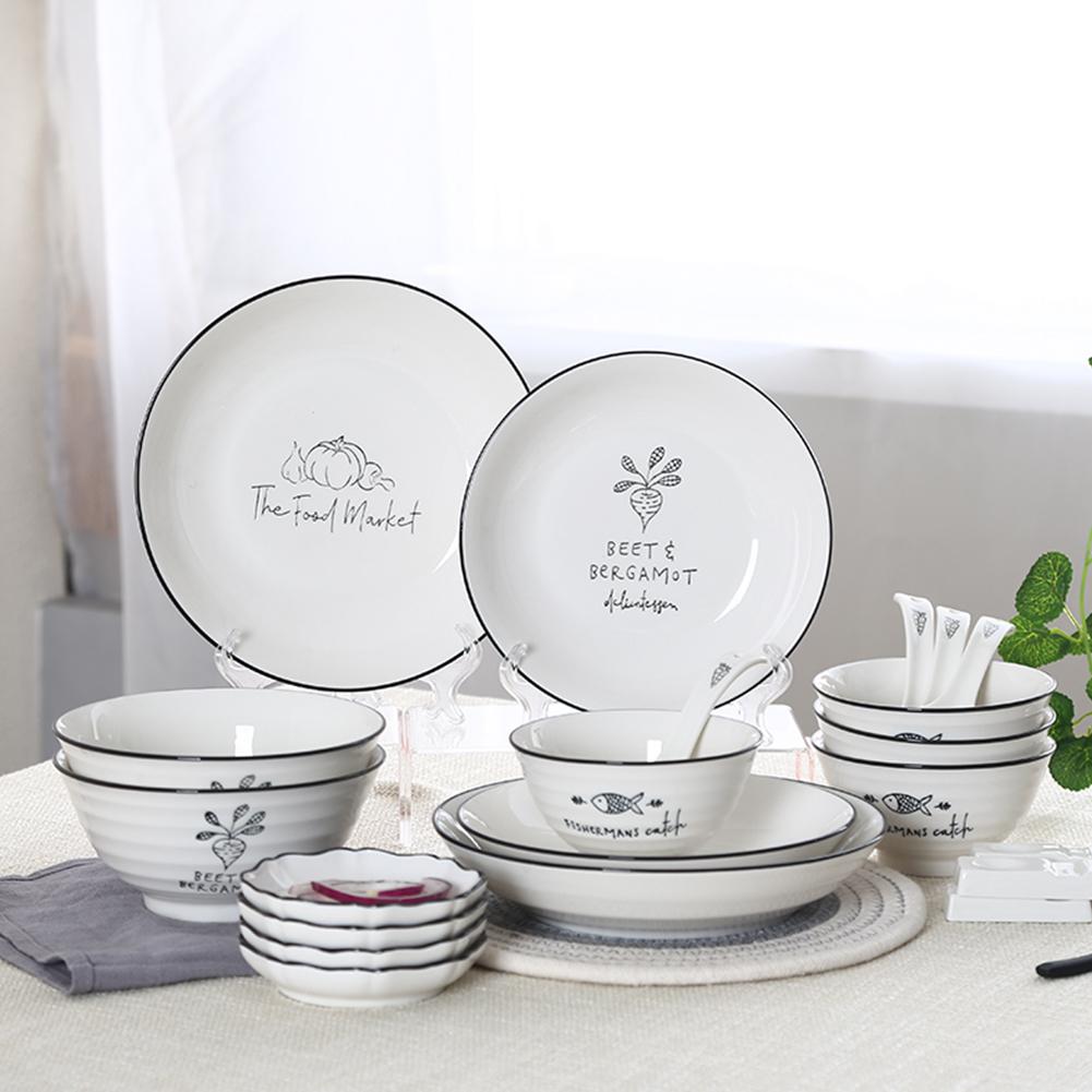 22Pcs/Set Simple Pattern Stackable Ceramic Tableware Bowl Plate Chopsticks Spoon Set