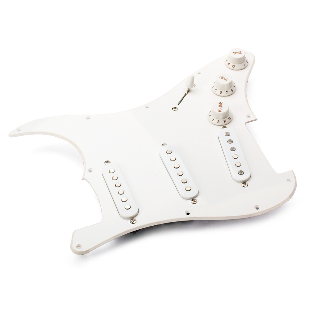 White Single Layer Loaded Pre-wired Pickguard Circuit Mount for Electric Guitar white