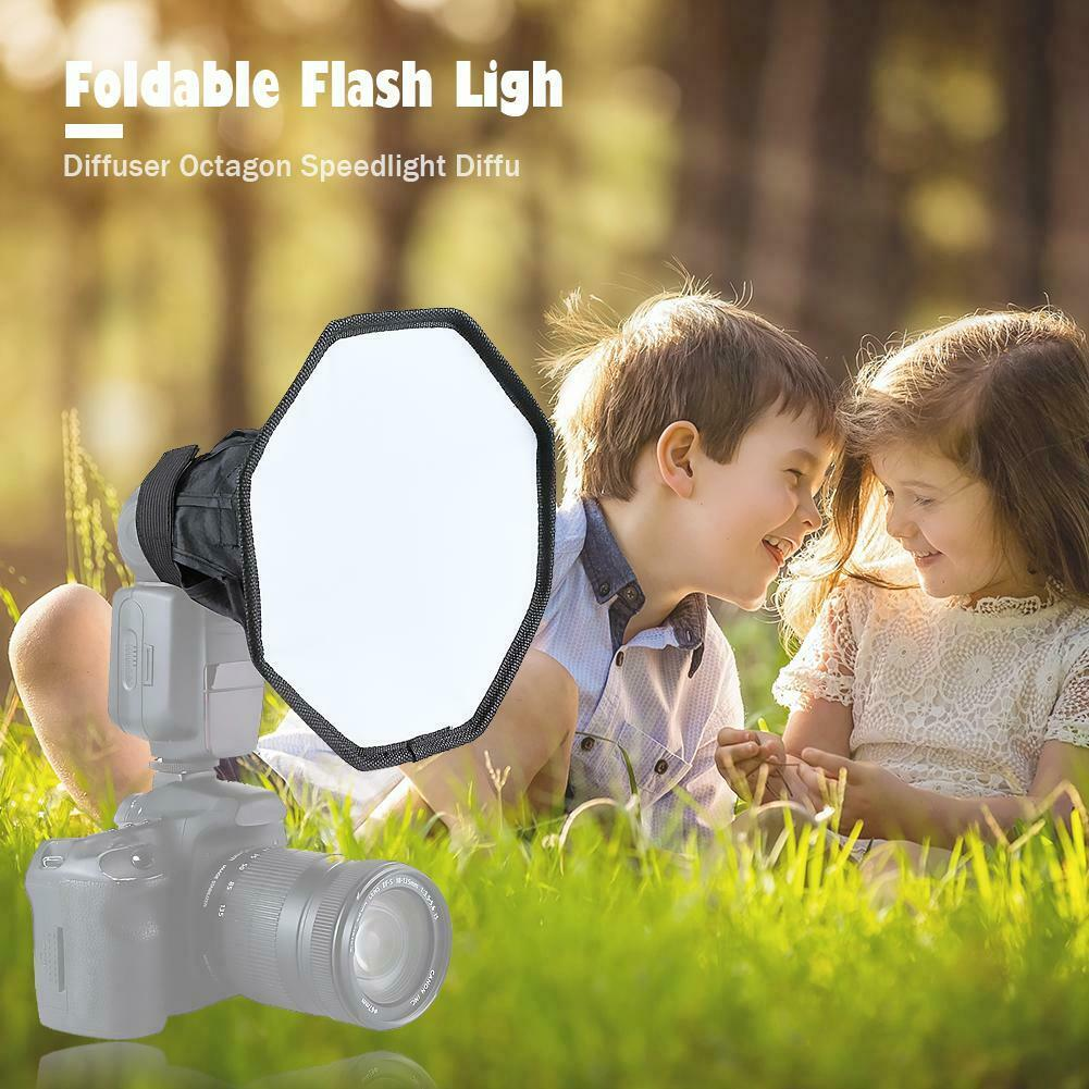 20cm Octagon Softbox Studio Flash Foldable Light Diffuser Universal Speedlight for Camera Photo Video Photography black