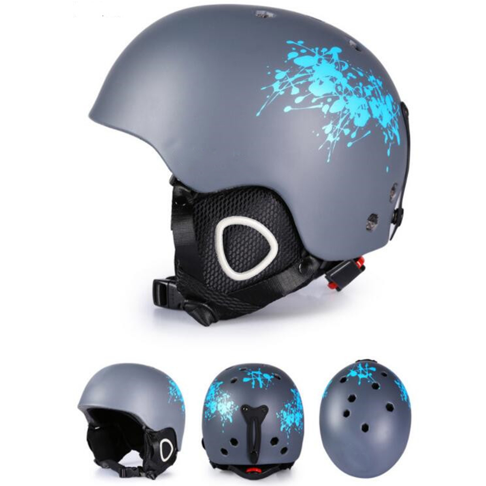 Integrated Molding Ski Helmet Safety Warm Snowboard Helmet Ski Protective Gear Equipment for Adult Blue branches_XL number
