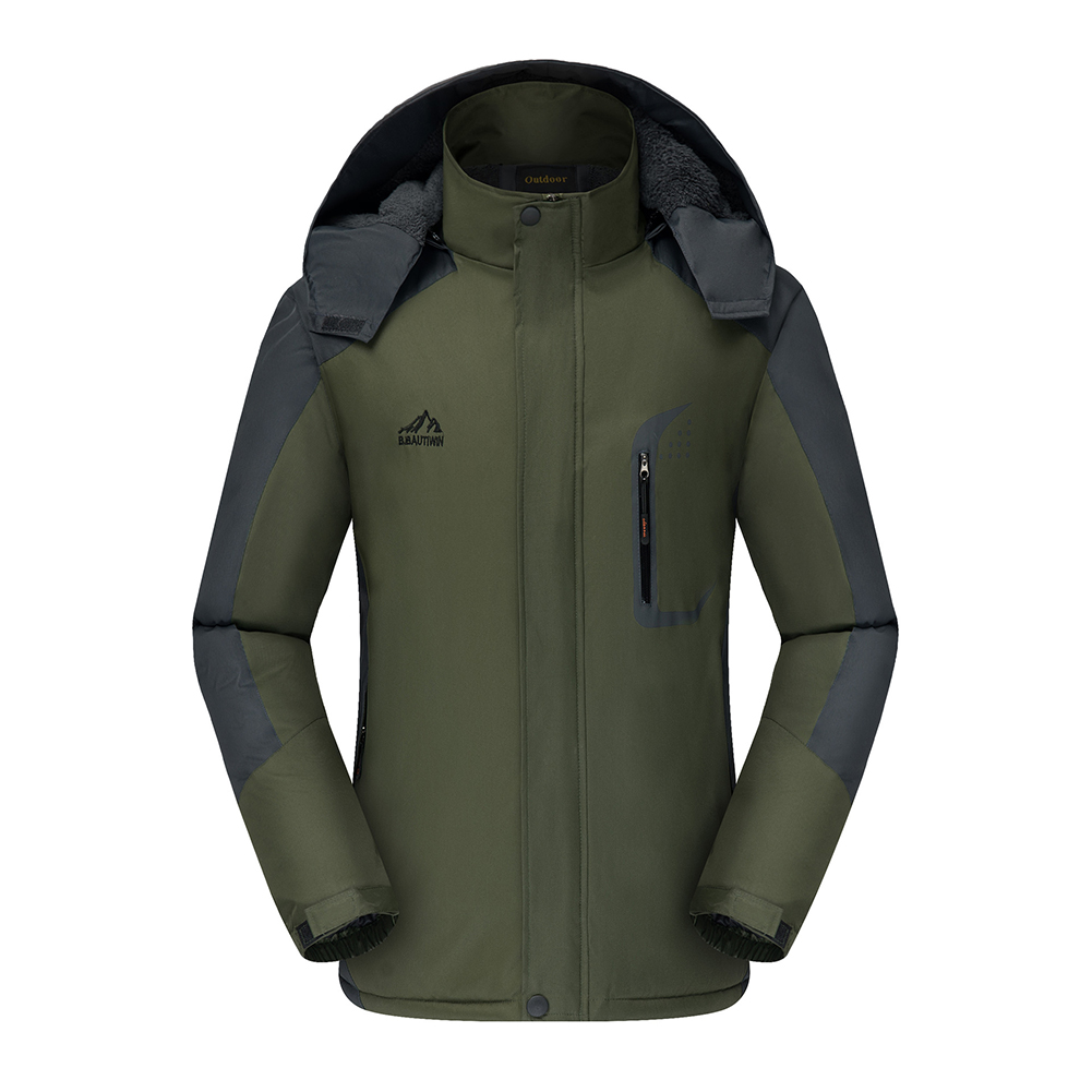 Men's Jackets Winter Thickening Windproof and Warm Outdoor Mountaineering Clothing blackish green_L