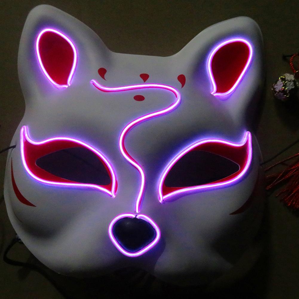 Half-Faced LED Light Emitting Japanese styel Mask for Halloween Dress up Party Dance 16X18CM purple