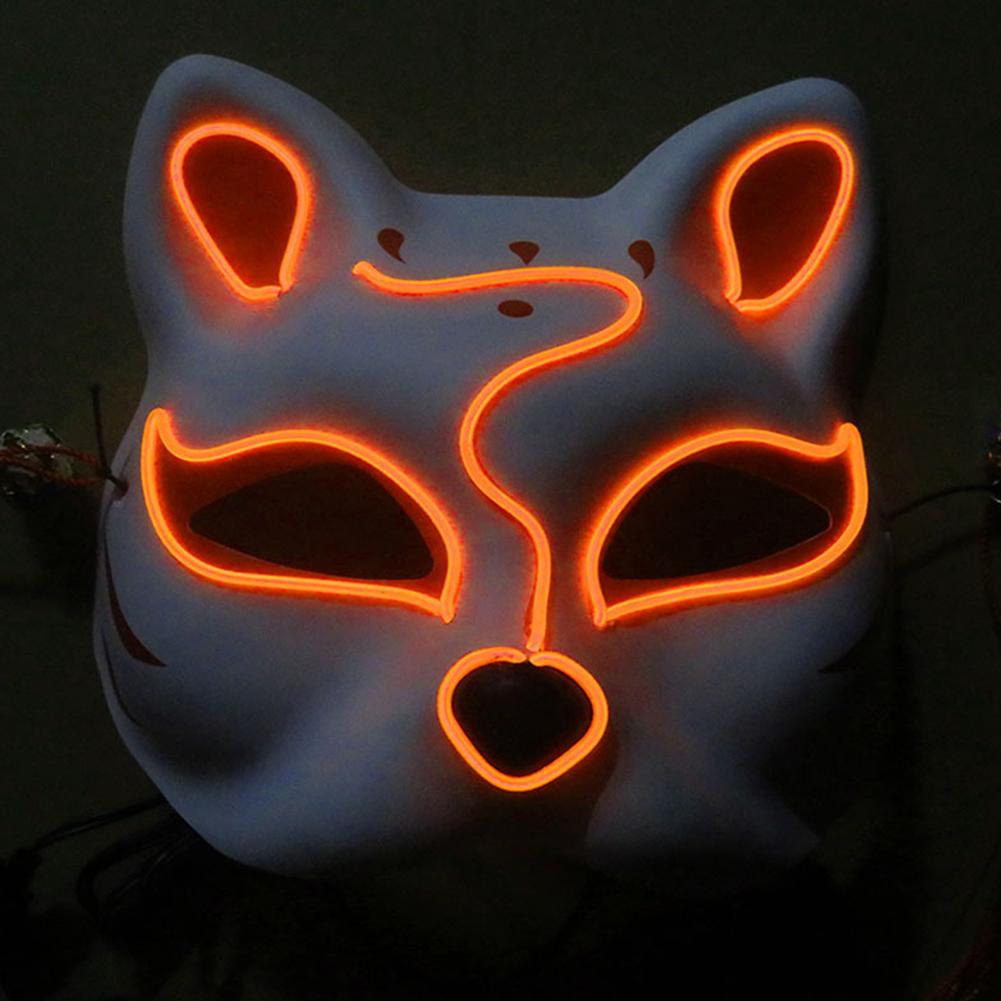 Half-Faced LED Light Emitting Japanese styel Mask for Halloween Dress up Party Dance 16X18CM Orange