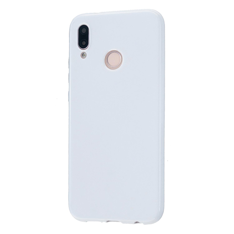 For HUAWEI P20/P20 Lite/P20 Pro Cellphone Case Simple Profile Soft TPU Phone Case Anti-Slip Smartphone Cover Milk white