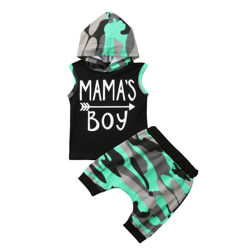 2pcs/set Boys Girls Sleeveless Hooded Camouflage Cotton Suit as shown_100cm