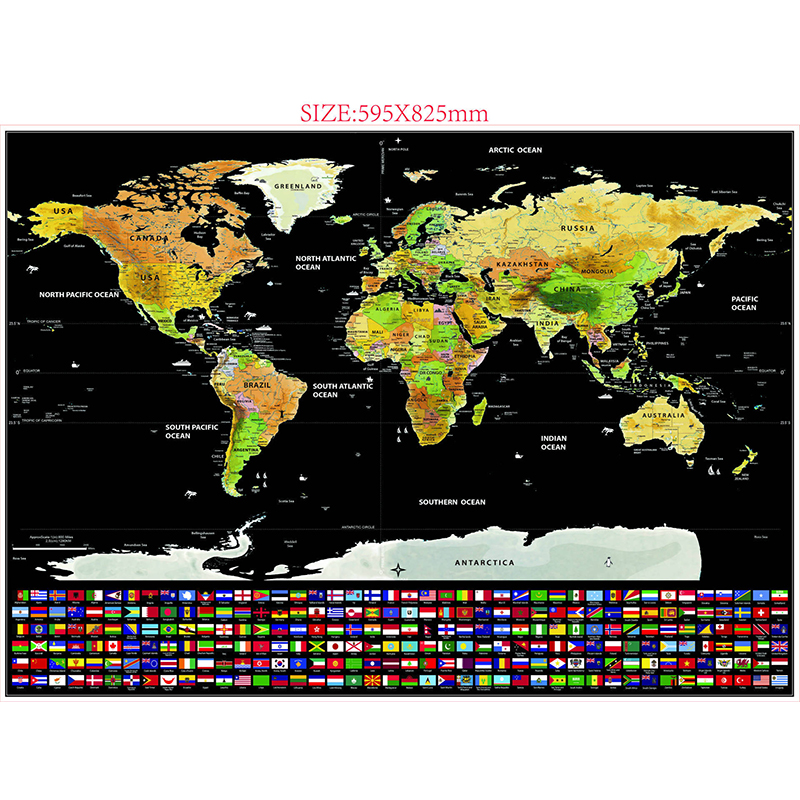 [US Direct] Scratch Off World Map, Personalized Travel Tracker Map Rub Off Coin Scratchable Wall Poster Unique Gift & Decor for Travel Enthusiasts