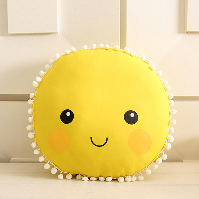 [EU Direct] Cute Soft Plush Smiley Face Sun Pillow, Cotton Stuffed Back Seat Cushion, Baby Kids Bedroom Doll Toys Birthday Gift 33.5cm