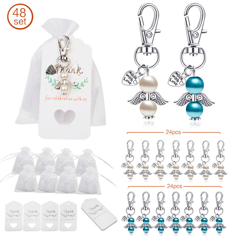 Organza Bags Key Chain Tag Set Angel Wings Shape Hanging Pendant for Wedding Decor 48pcs