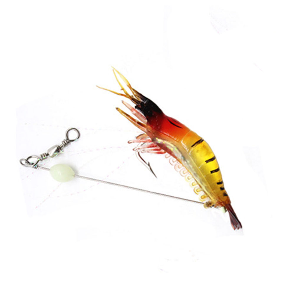 9cm Simulation Prawn Fishing lure Multicolor Luminous Tackle Bait Sea fishing Soft bait fishing tool 5#Red head and yellow body