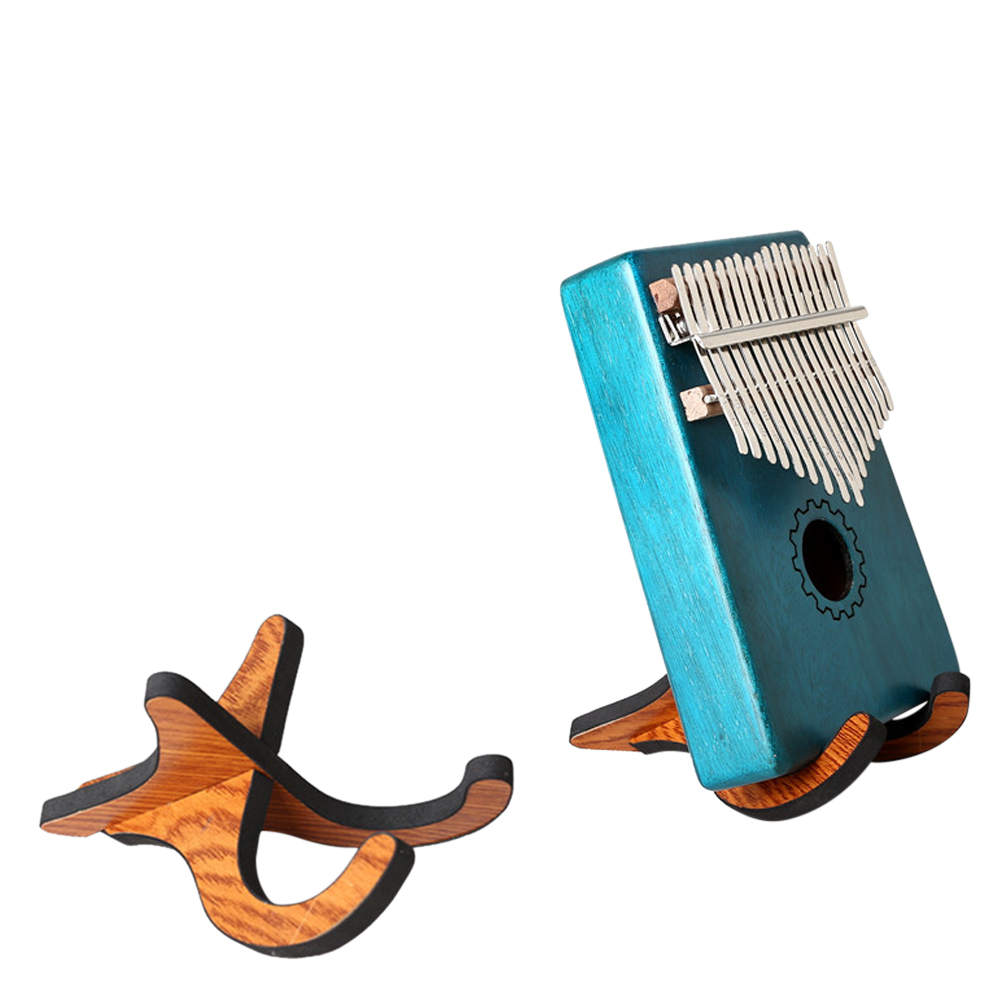 Portable Collapsible Kalimba Holder Stand Thumb Piano Vertical Wooden Stand  Wood color