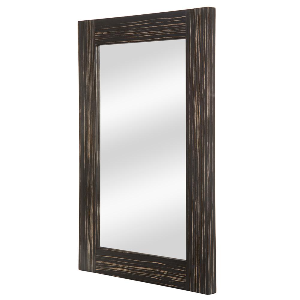[US Direct] Wood Glass Rectangular Decorative  Mirror 59.69*3.99*90.17cm Rustic Farmhouse Mirror brown