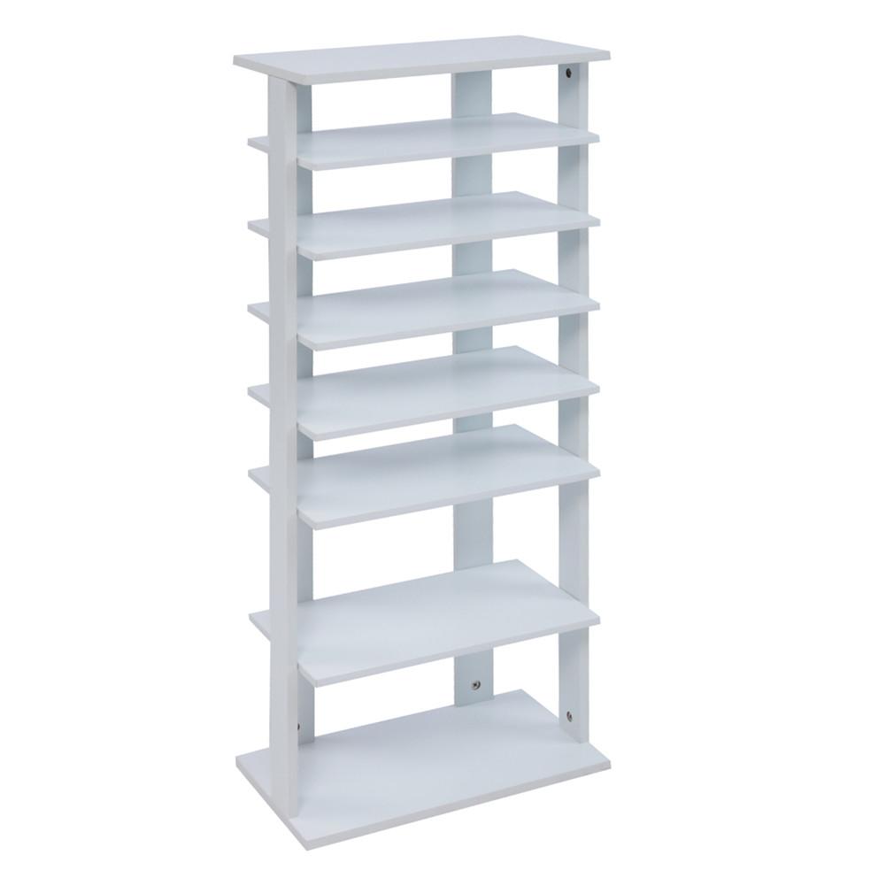 [US Direct] 7-layer Wooden Shoe Rack  Storage Mount Household Furniture Room Organizer white
