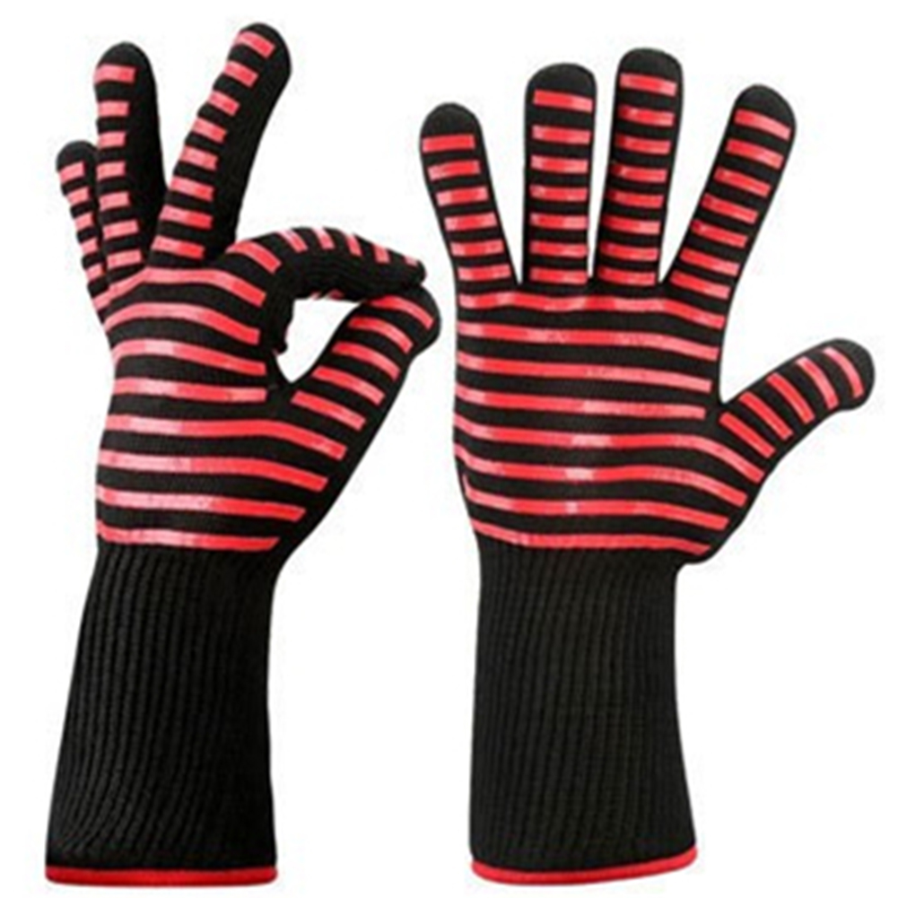 BBQ Grilling Cooking Gloves Extreme Heat Resistant Oven Welding Gloves Kitchen Tool Red horizontal stripes_33CM